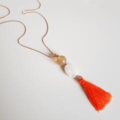1-Colar longo Boho chic - coral