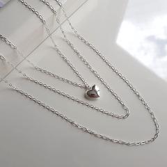 Kit - Trio de colares prateados com pingente coração