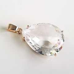 Pingente cristal gota white 20x15xmm
