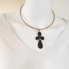 pingente de cristais preto ônix