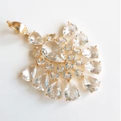 Pingente de cristais white- formato leque