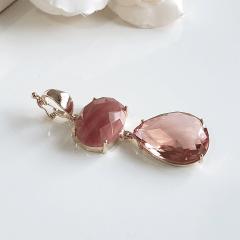 Pingente de pedra natural Aragonita e cristal pêssego Morganita