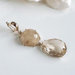 Pingente  de Rutilo e cristal honey - Modelo Maia