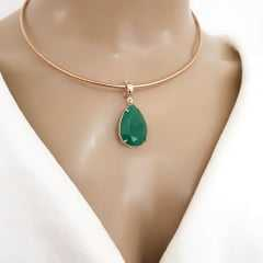 pingente cristal gota verde esmeralda