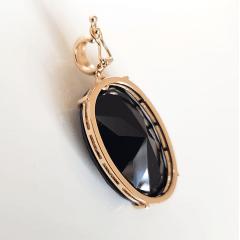 Pingente oval de cristal preto ônix 20mmx30mm