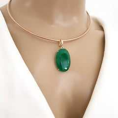 1-Pingente cristal verde esmeralda oval - Classic