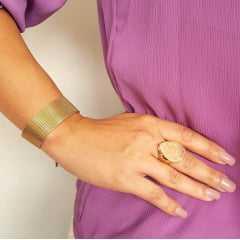 Pulseira bracelete de corrente malha fita larga - dourada