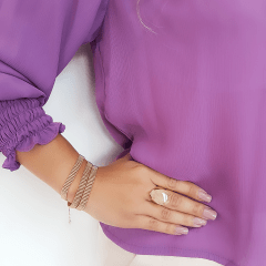 1-Pulseira bracelete de corrente malha fita tripla