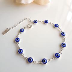 Pulseira de de olhos gregos azuis- prateado