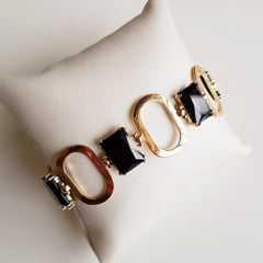 pulseira de elos ovais e cristais preto ônix
