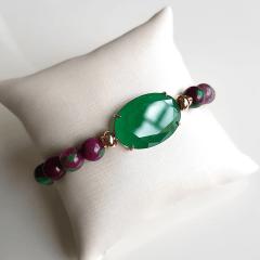 1-Pulseira de jade melancia e cristal verde esmeralda