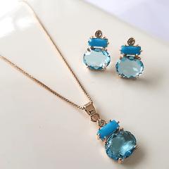 Conjunto Bella com cristais azul - colar curto e brinco