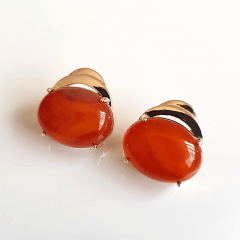 Conjunto colar e brinco de pedra natural ágata