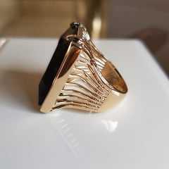 Conjunto anel e brinco cristais preto ônix formato retangular