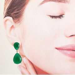 Conjunto anel e brinco cristal verde esmeralda