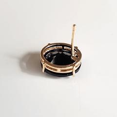 Conjunto anel e brinco de cristais preto ônix e zircônias