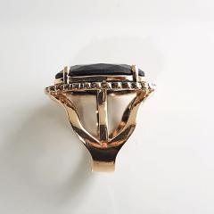 Conjunto anel e brinco de cristal preto ônix