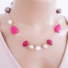 1-Conjunto Ateliê - colar curto + brinco - pedras naturais