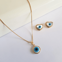 Conjunto colar curto e brinco coração de olho grego
