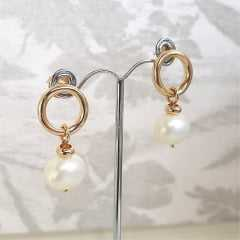 1-Conjunto colar duplo e brinco de pérolas shell
