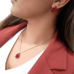 Conjunto colar e brinco cristal fusion vermelho