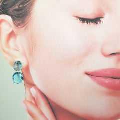 Conjunto Daily com cristais azul aquamarine