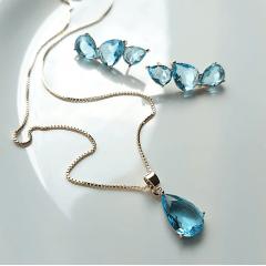 Conjunto colar e brinco de cristal azul aquamarine 1