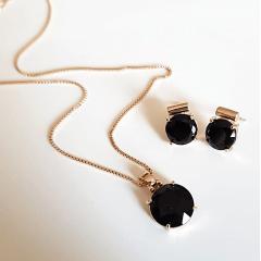 Conjunto ponto de luz - cristal preto ônix redondo- colar curto e brinco