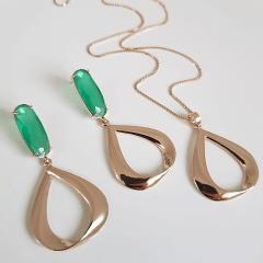 1-Conjunto de colar + brinco com cristal verde esmeralda