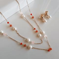 Conjunto de colar duplo + brinco - pedras naturais, cristais rondel e pérolas - modelo Bianca
