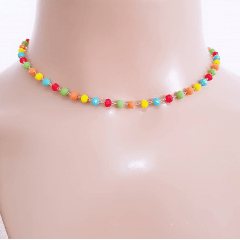 Conjunto de cristais multicolor -  colar e pulseira