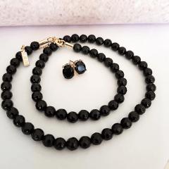 Conjunto Lady - pedra natural e cristal preto ônix