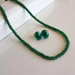 1-Conjunto Lady - colar curto e brinco de quartzo verde