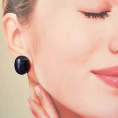 1-Conjunto Lady - colar curto e brinco pedra natural Sodalita e Lapis lazuli