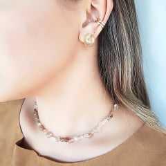 Conjunto Lady - pedras naturais quartzo rutilado - colar e brinco