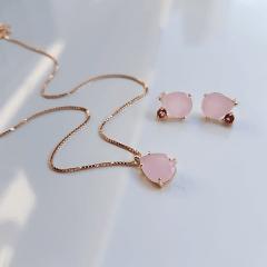 Conjunto Lila - com gotas quartzo rosa - colar e brinco