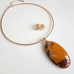 Conjunto Singular - pedra natural Jaspe Australiano - colar aro + brinco-4