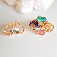 _________SUGESTÃO DE CONJUNTO ____________ Anel multicolor + brinco gota cristal morganita