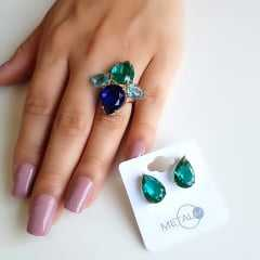 __________ Sugestão de conjunto _____________ anel multicolor e brinco cristal verde turmalina -2