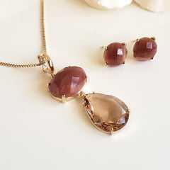 _________sugestão de conjunto ________  Conjunto colar + brinco pedras naturais Aragonita e cristais