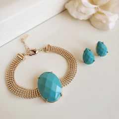 _________sugestão de conjunto ________ Conjunto pulseira + brinco cor turquesa